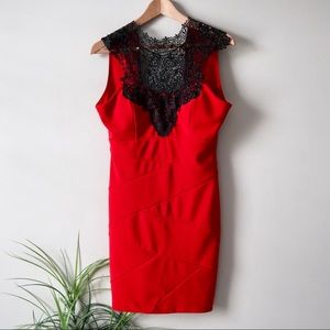 LE CHATEAU RED LACED UP KNEE LENGTH FORMAL dress